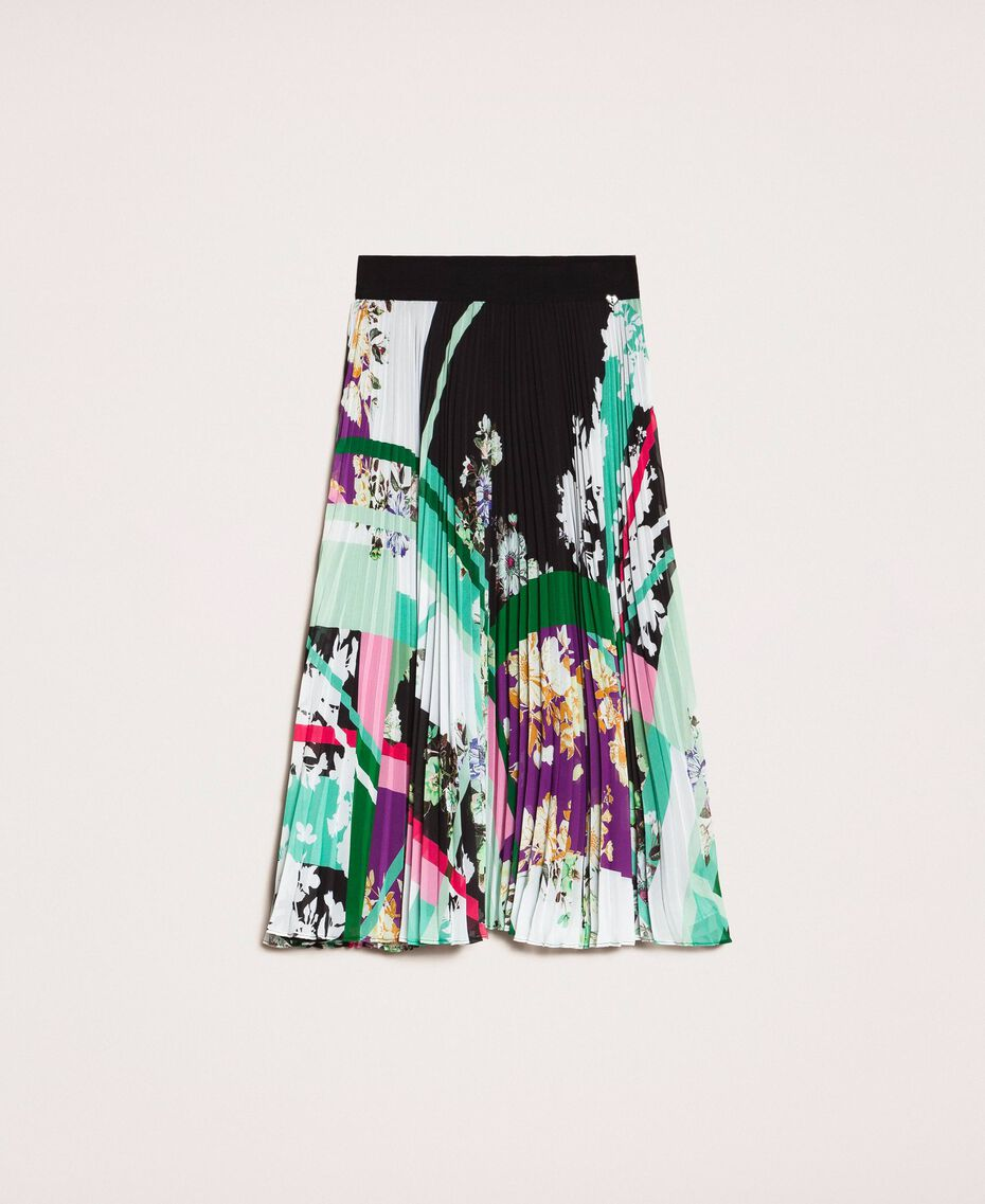 Pleated georgette midi skirt Black Scarf Print Woman 201MP2363-0S