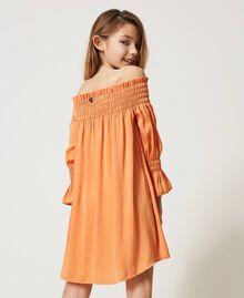 Robe épaules dénudées en crêpe georgette Orange «Iceland Poppy» Enfant 211GJ2QA2-03