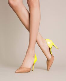 """Patent leather and leather court shoes Two-tone """"Desert"""" Beige / Fluo Yellow Woman 201TCP012-0S"""