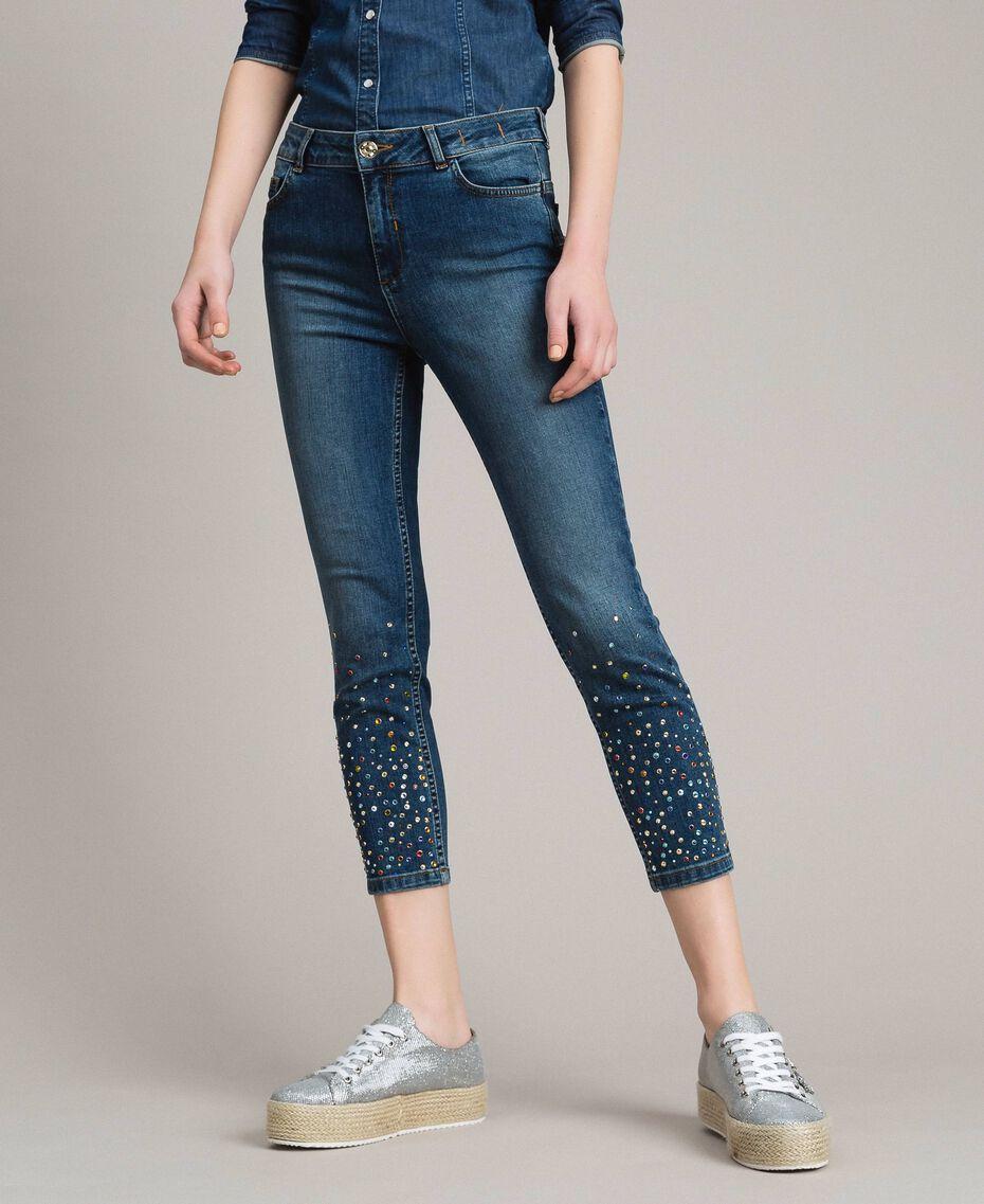 Skinny jeans with fadeout rhinestones Denim Blue Woman 191MP2421-02