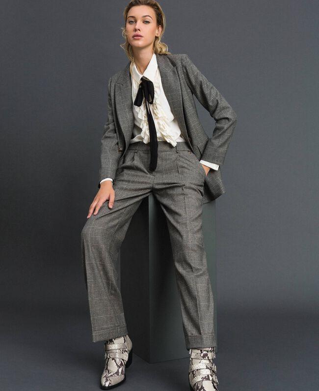 Glen plaid double breasted jacket Lurex Dark Grey Wales Design Woman 192TT2443-01