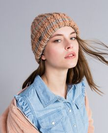 Bonnet en maille avec lurex Rayure Rose Nude / Or Rose Femme VA8P2C-0S