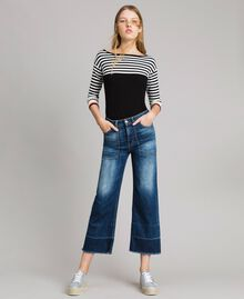 Jean fatigue à taille haute Bleu Denim Femme 191MP2474-02