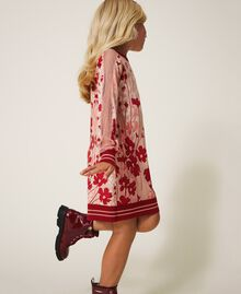 "Printed knit dress with tulle Peach / ""Cherry"" Red Flowers Animal Print Child 202GJ3641-01"