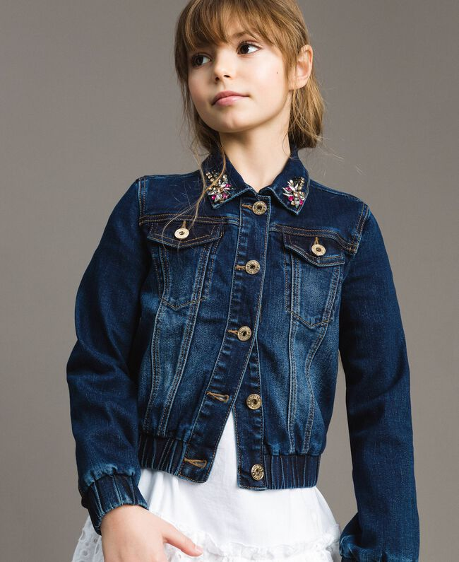 Denim jacket with stones Dark Denim Child 191GJ2632-04