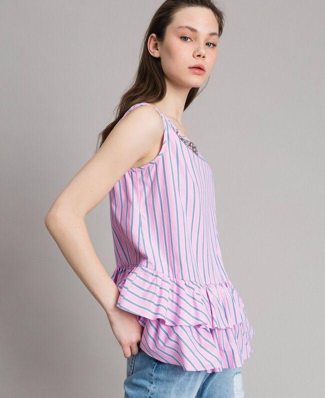 Striped poplin top with flounces Hydrangea Pink Woman 191MP2041-01