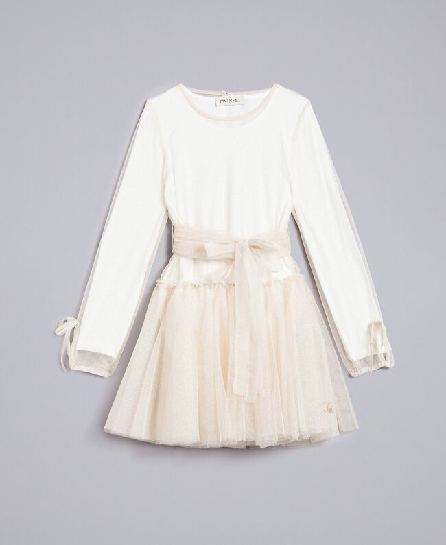 Kleid aus Lurextüll Zweifarbig Weiß / Goldlurex Kind GA82L1-01