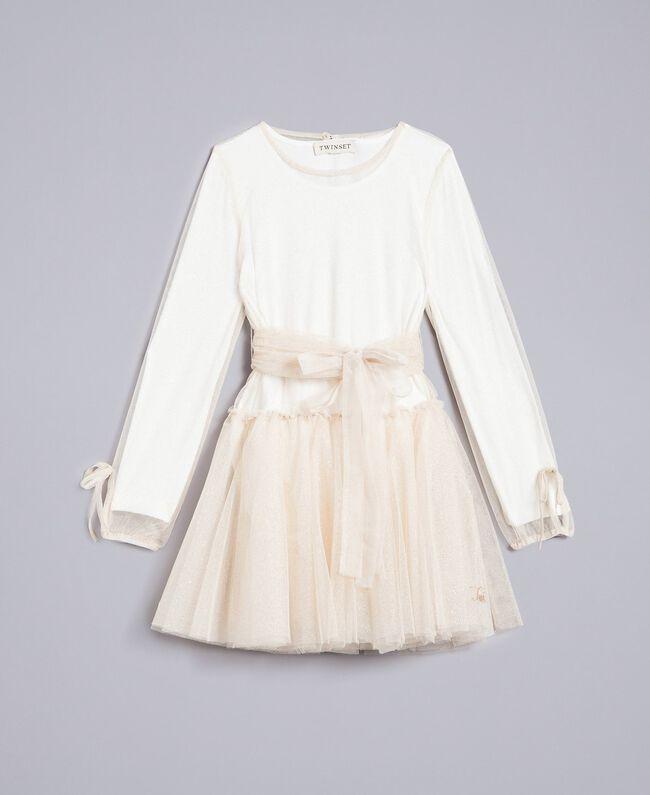 Robe en tulle lurex Bicolore Blanc / Lurex Doré Enfant GA82L1-01