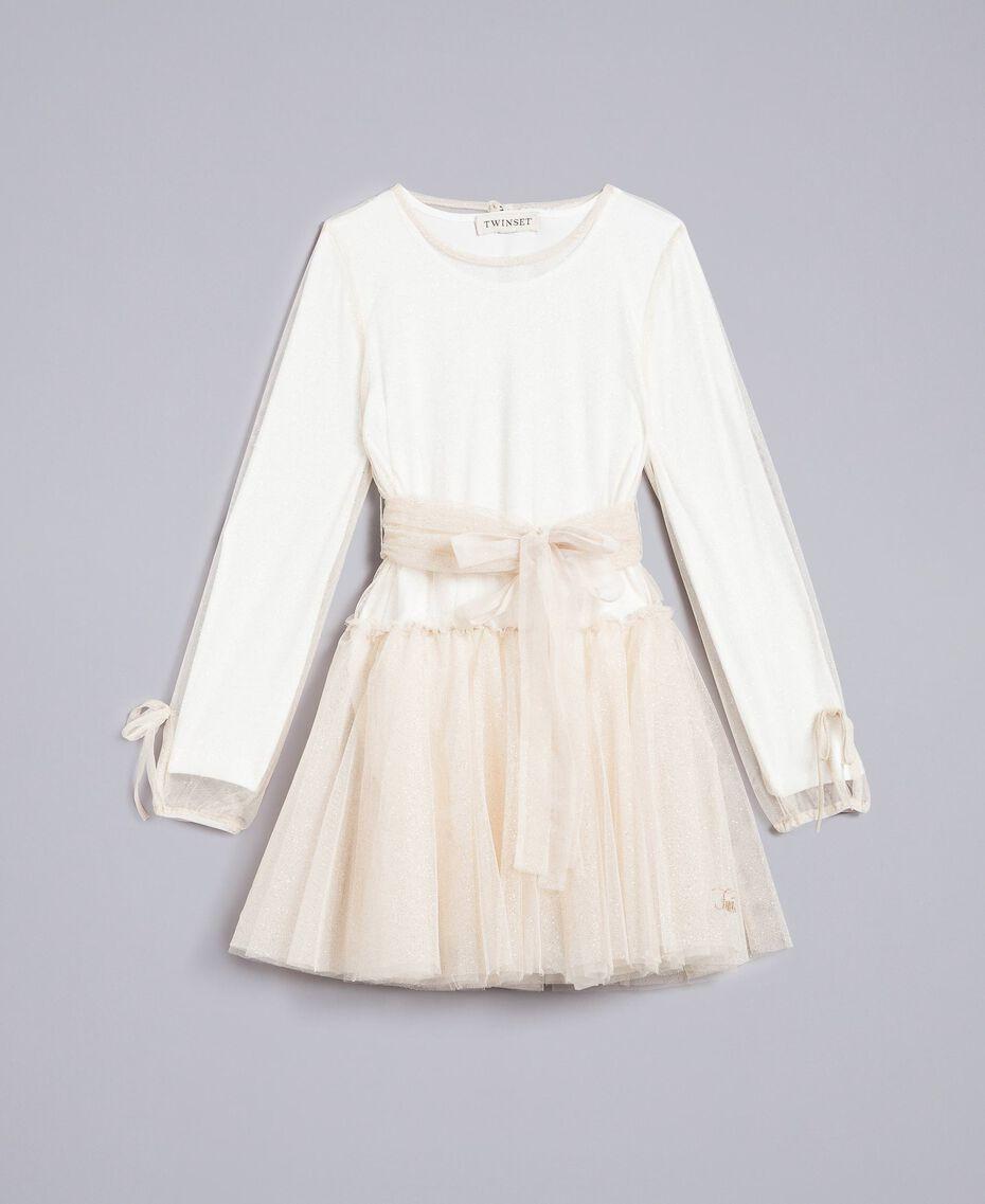 Платье из тюля с люрексом Двухцветный Белый / Золотистый Люрекс Pебенок GA82L1-01