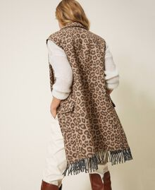 Animal print jacquard wool cloth waistcoat Walnut / Tobacco Animal Print Jacquard Woman 202TT213B-03