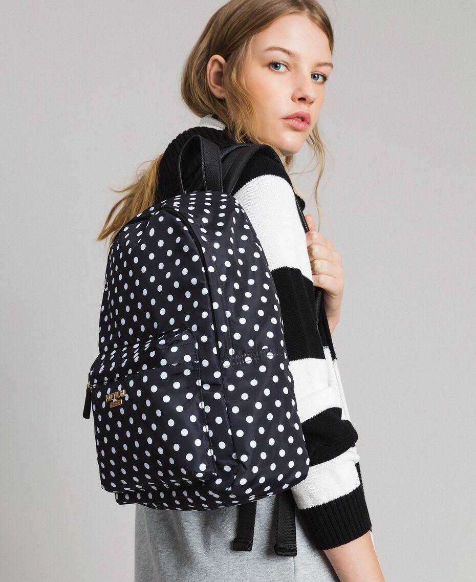 Technical fabric polka dot backpack White / Black Polka Dot Print Woman 191MA7122-0S