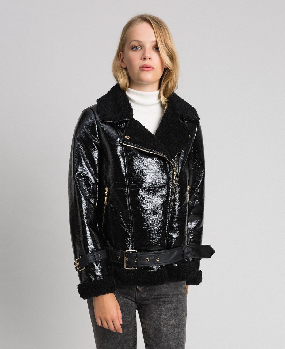 Patent leather effect faux shearling biker jacket Black Woman 192MT2030-02