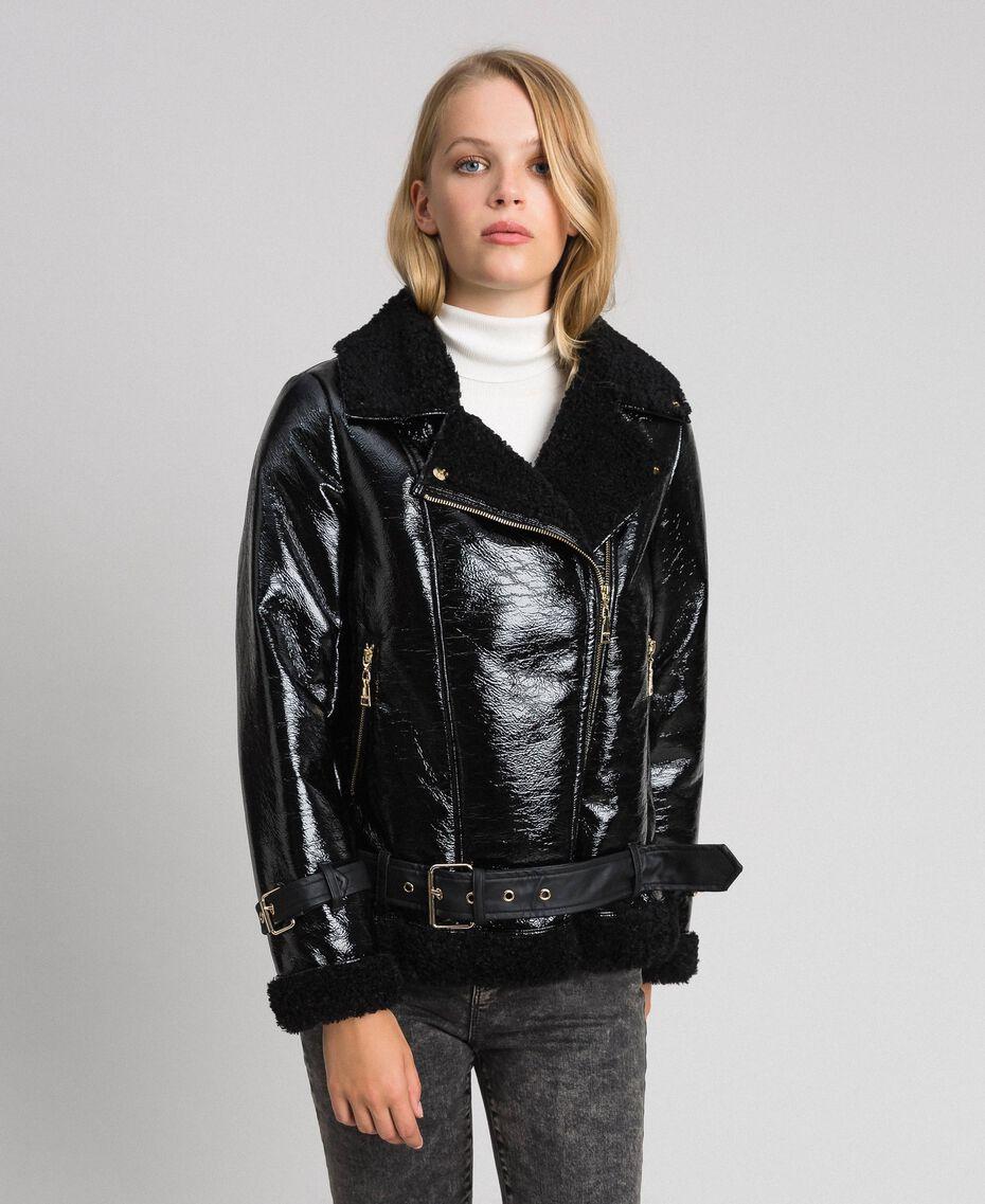 Blouson perfecto en faux mouton effet verni Noir Femme 192MT2030-02