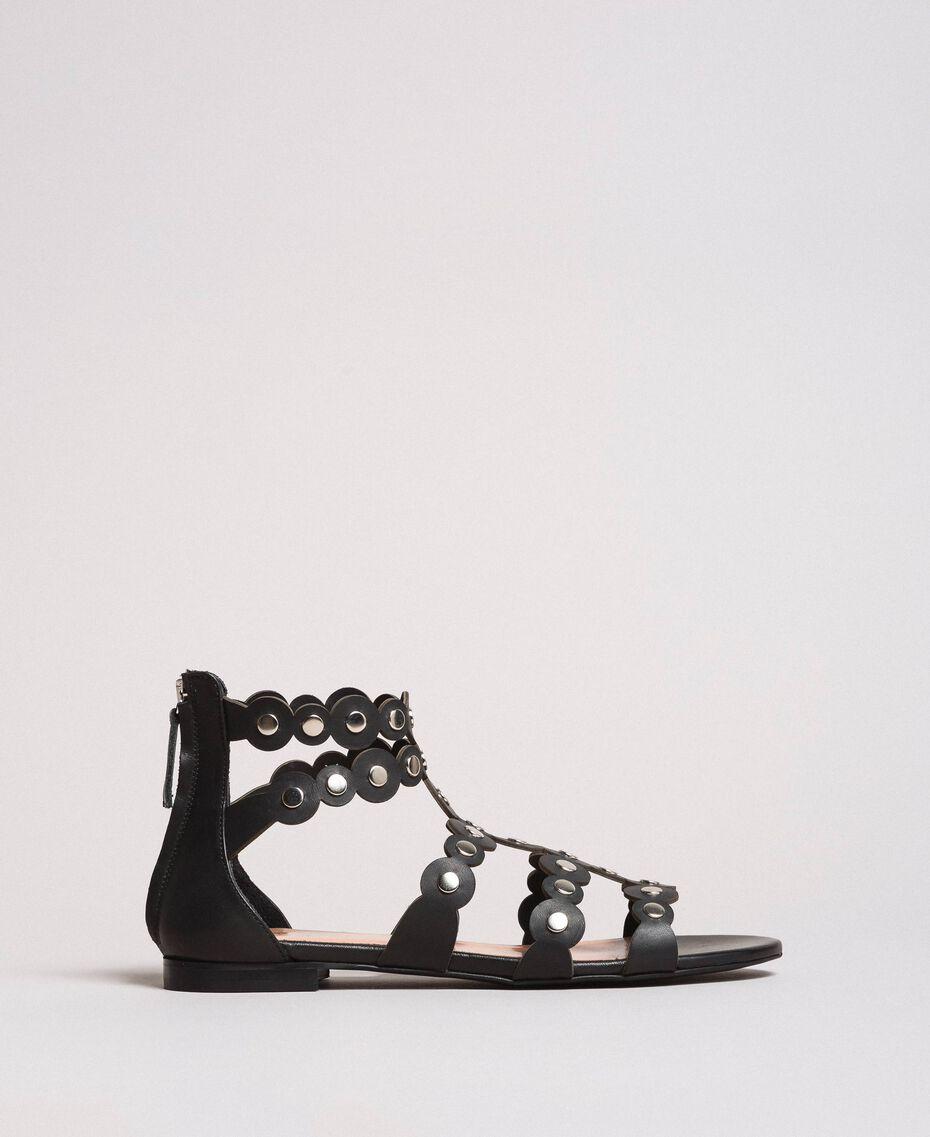 Leder-Sandalen mit Nieten Schwarz Frau 191TCP04C-02
