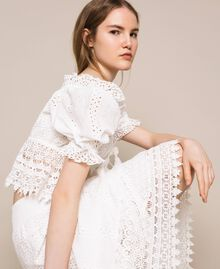 Broderie anglaise long skirt with lace White Woman 201LM2LJJ-03