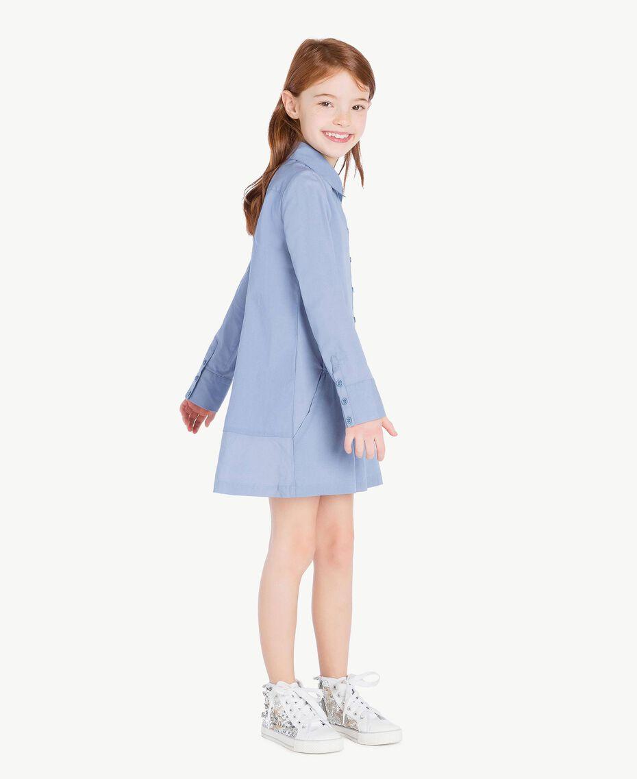 Kleid aus Popeline Unendlichkeits-Azur Kind GS82QR-03