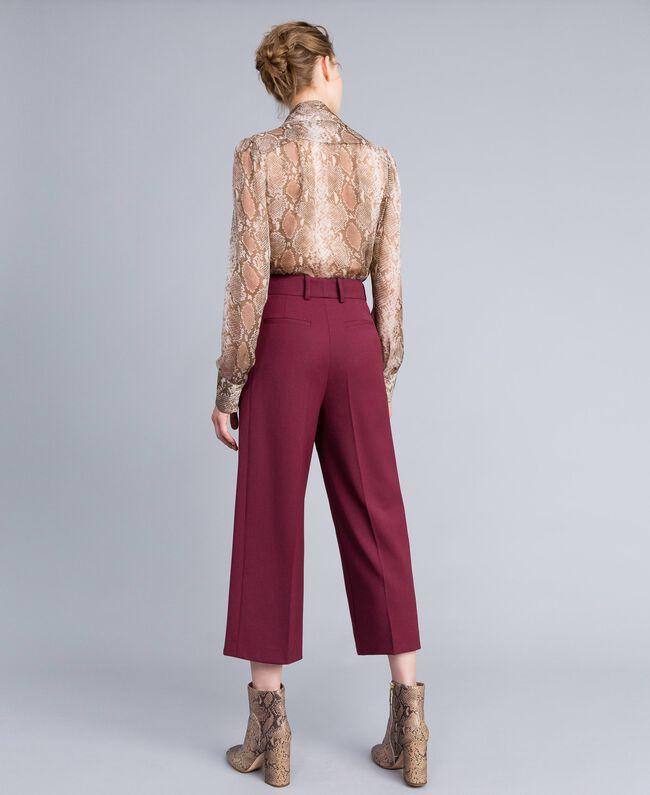 Cool wool cropped trousers Bordeaux Woman PA823N-03