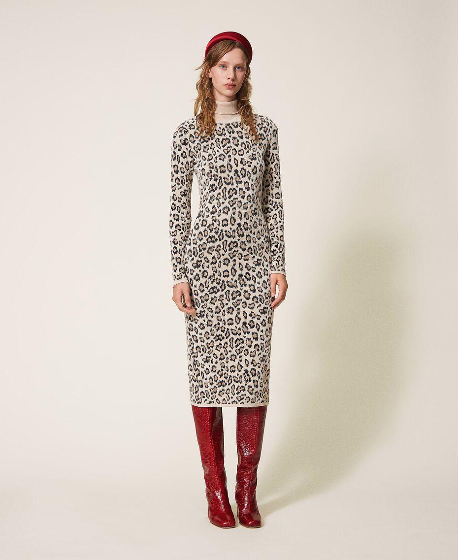 Robe fourreau en jacquard animalier Imprimé Jacquard Femme 202TT3160-01