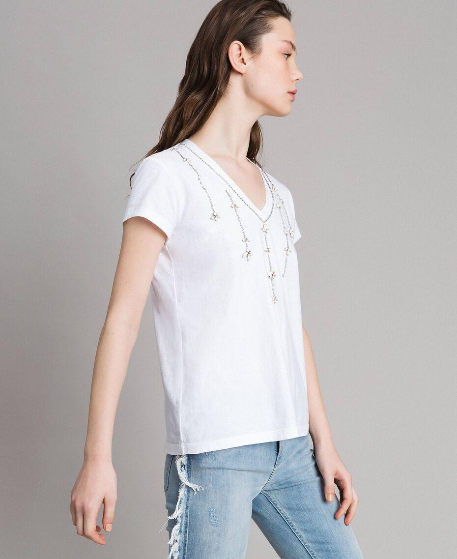 T-shirt avec pierres et strass Blanc Femme 191MT241G-03