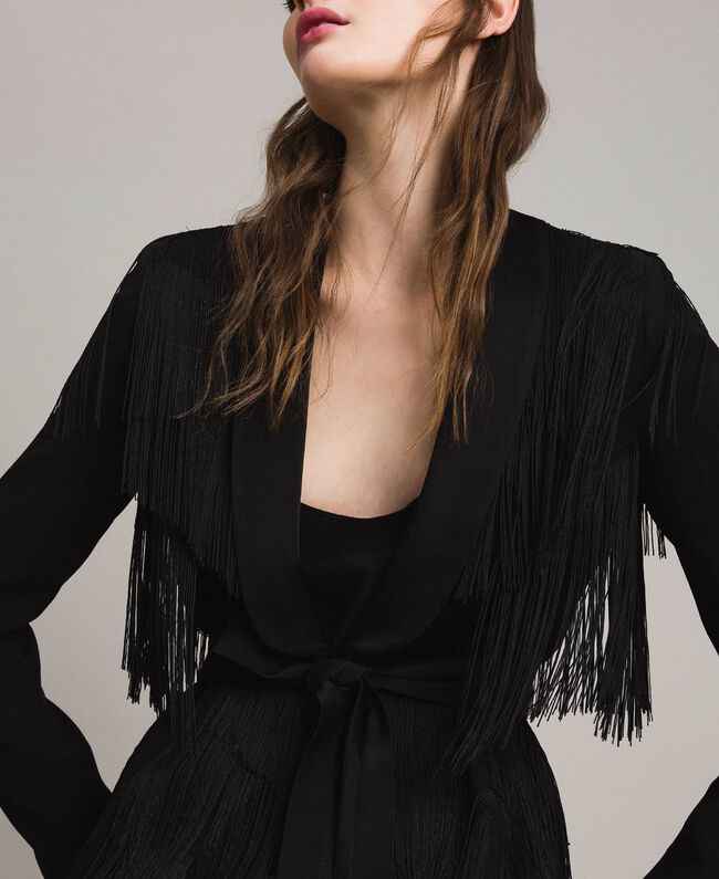 Blazer with fringes Black Woman 191TT2380-01
