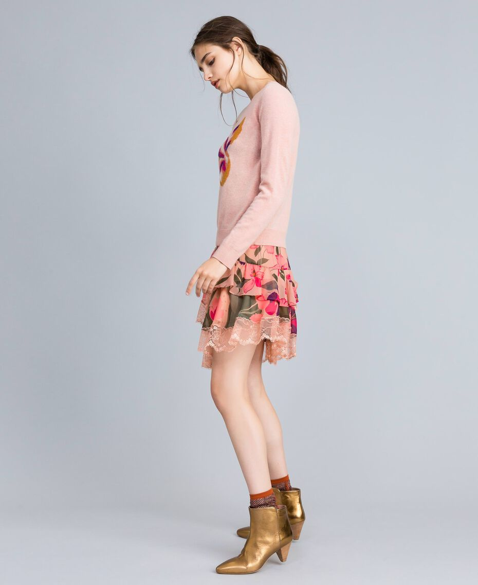 "Gonna in chiffon a stampe floreali Stampa Pink Tulipano ""Tea Garden"" Donna TA829A-02"