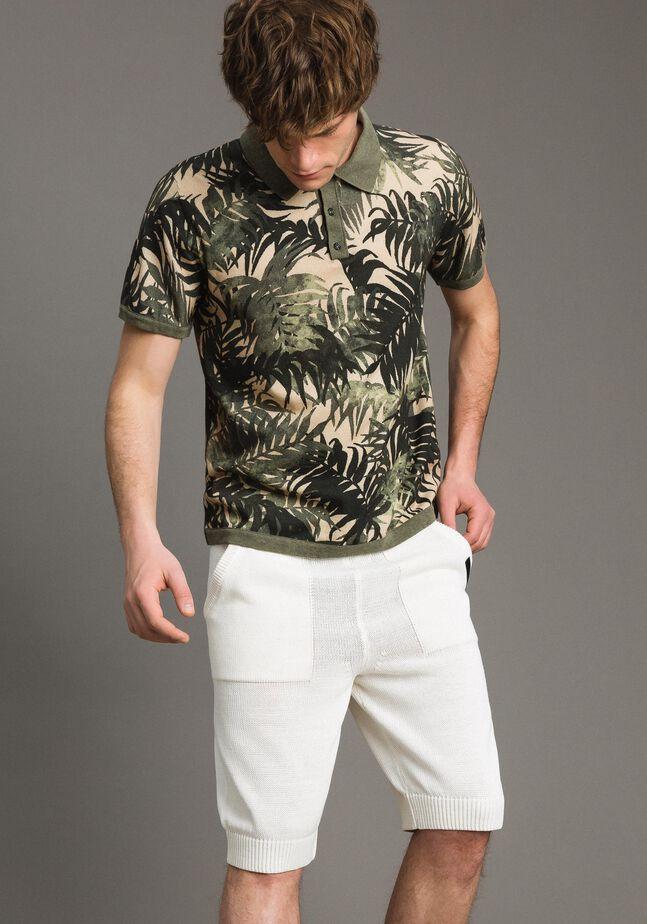Crêpe cotton printed polo shirt