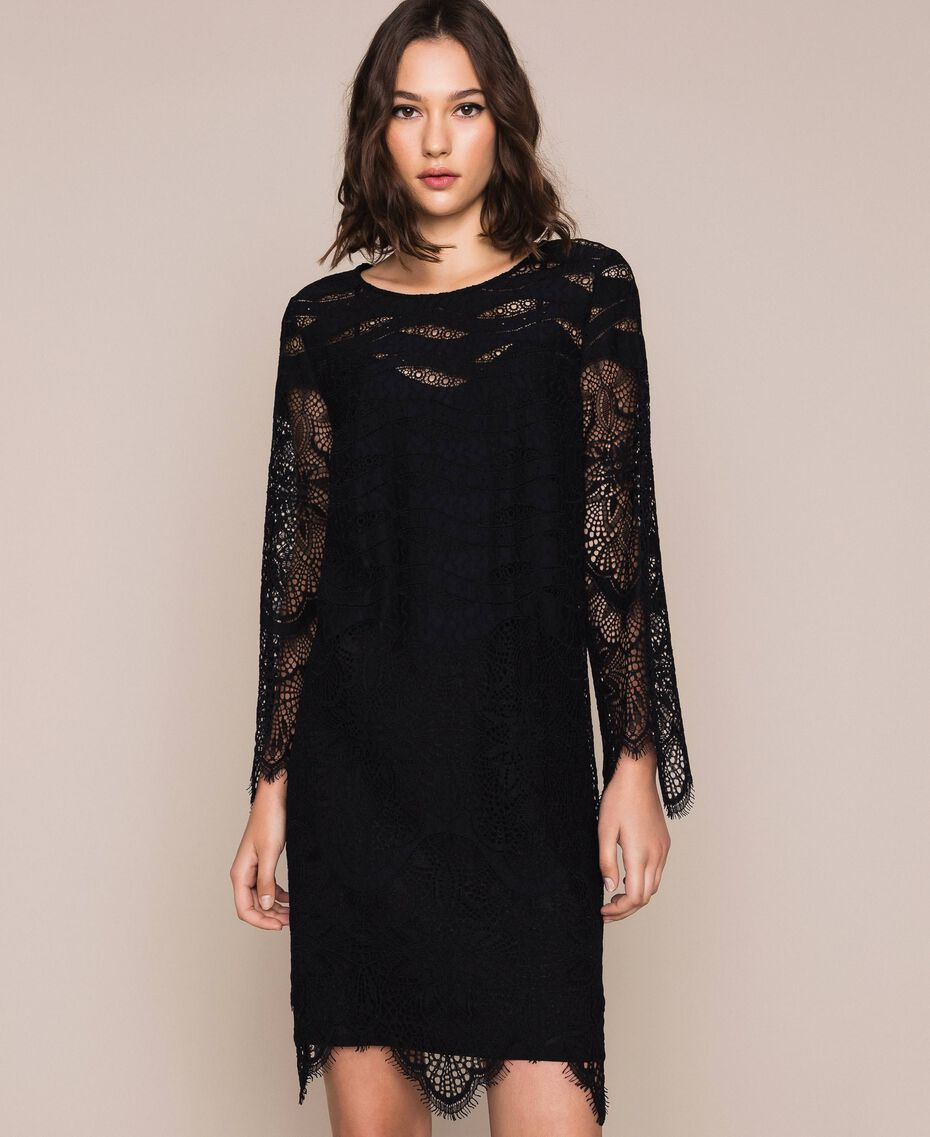 Macramé lace dress Black Cherry Woman 201TP2030-02