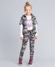 Felpa in cotone stretch stampato Stampa Camouflage / Paillettes Bambina GA82N1-0T