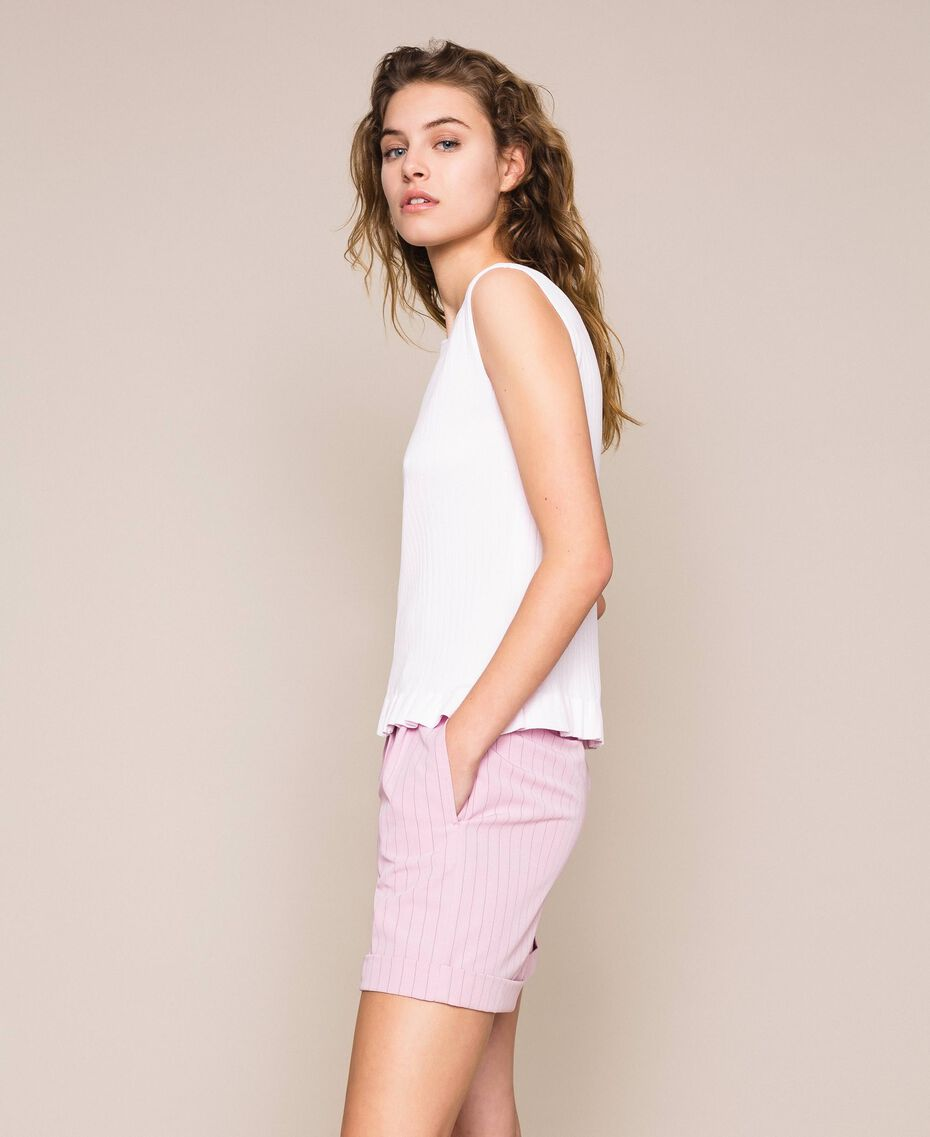 """Ribbed top with ruffle Pale """"Candy"""" Pink Woman 201ST3122-02"""