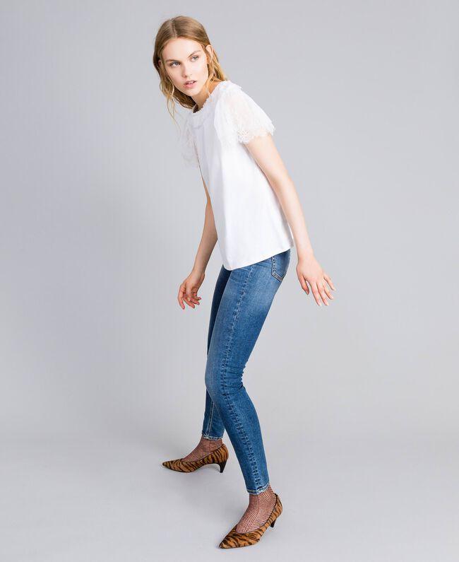 T-shirt in cotone con pizzo Bianco Donna TA8281-03