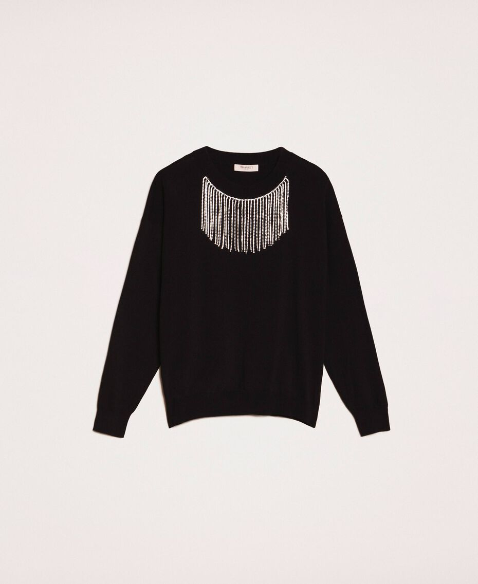 Jumper with rhinestone fringes White Snow Woman 201TP3081-0S