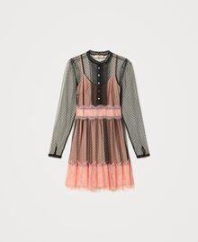 Robe en tulle et dentelle Bicolore Noir / Rose «Pêche Blossom» Femme 202TP2201-0S