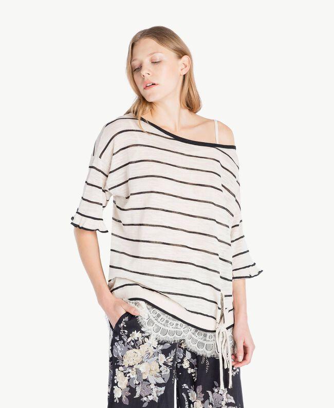 Maxi pull rayures Bicolore Blanc Parchemin / Noir Femme YS83BD-01