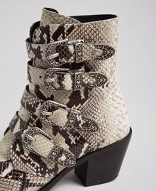 Cowboystiefelette aus Leder mit Animal-Dessin Felsenpythonprint Frau 192TCT06E-04
