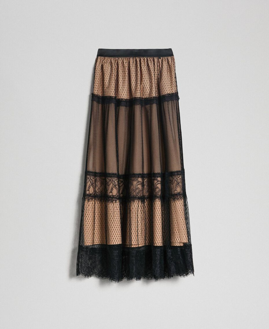 Tulle, Valenciennes lace and plumetis skirt Two-tone Black / Nude Woman 192TP2333-0S