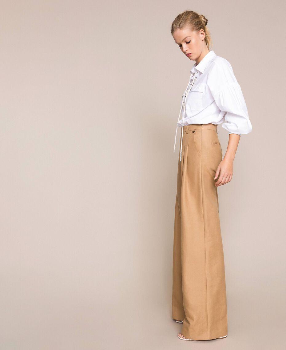 Weite Hose aus Leinenmischung Dünenbeige Frau 201TP2257-02