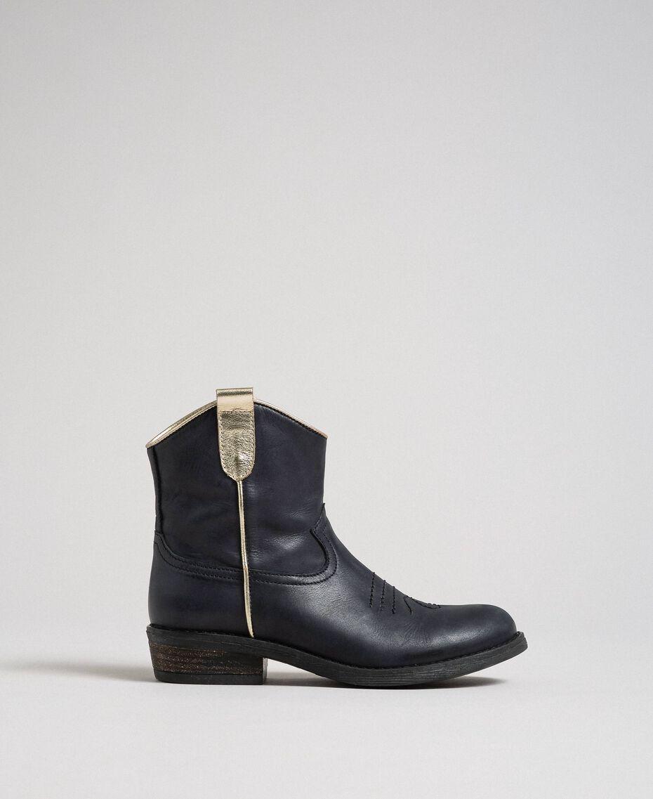 Bottines style santiags en cuir Noir Enfant 192GCJ02A-02