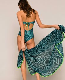"Animal print sarong ""Atlantic Deep"" Green Zebra Print Woman 201LB4GHH-0S"