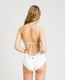 One-piece swimsuit with rhinestones Ivory Woman 191LMMR00-03