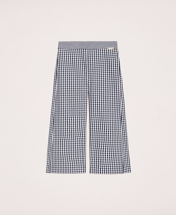 Pantalon cropped en tissu Vichy