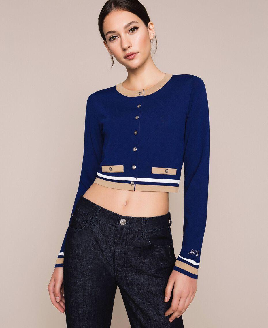 "Contrasting trim cropped cardigan Multicolour ""Ultramarine"" Blue /""Hemp"" Beige / Vanilla Woman 201MP3051-01"