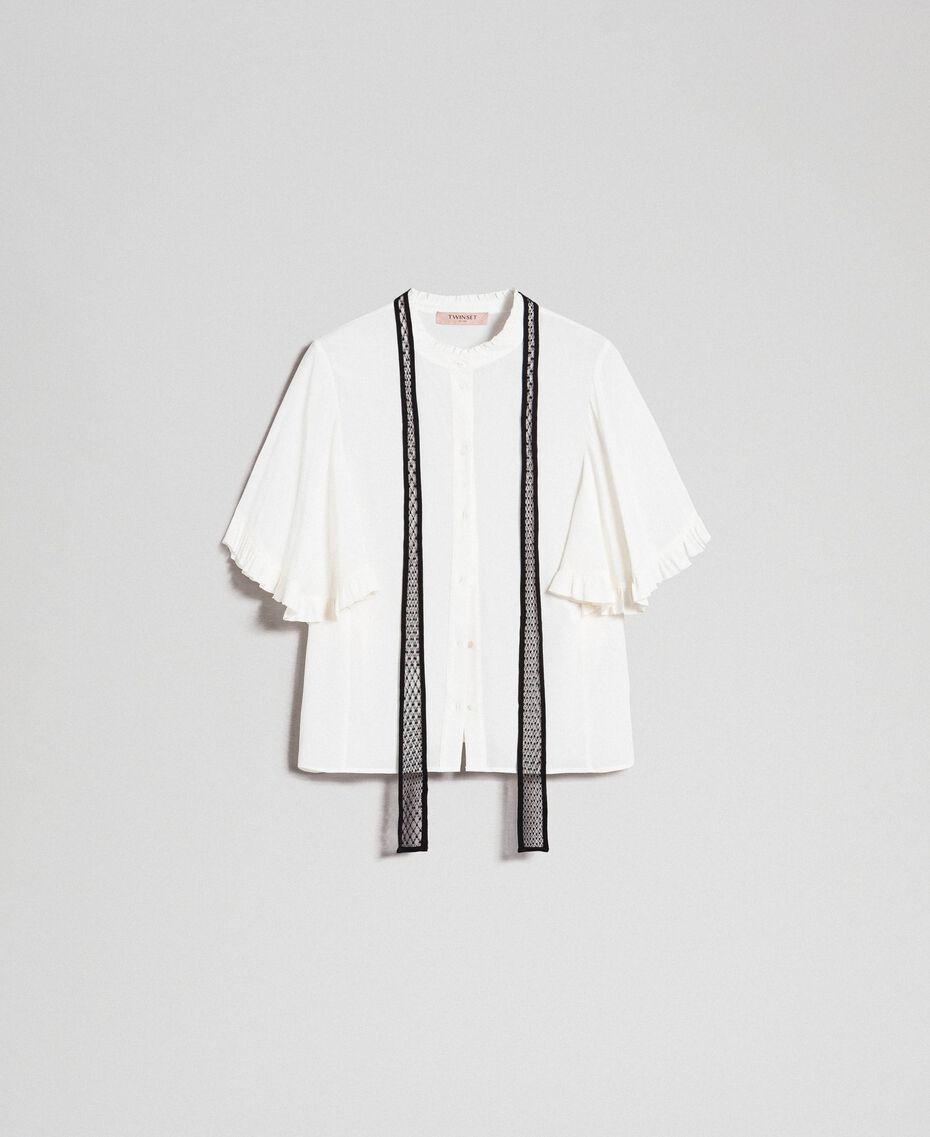 Chemise en crêpe de Chine de soie mélangée Blanc Neige Femme 192TP2260-0S