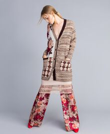 "Floral print houndstooth jacquard cardigan ""Nude"" Pink Floral Jacquard Woman SA83HC-0T"