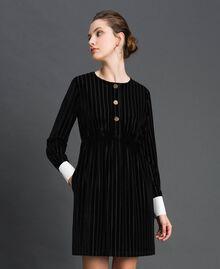 Robe en velours dévoré effet rayé Noir Femme 192MP2250-01