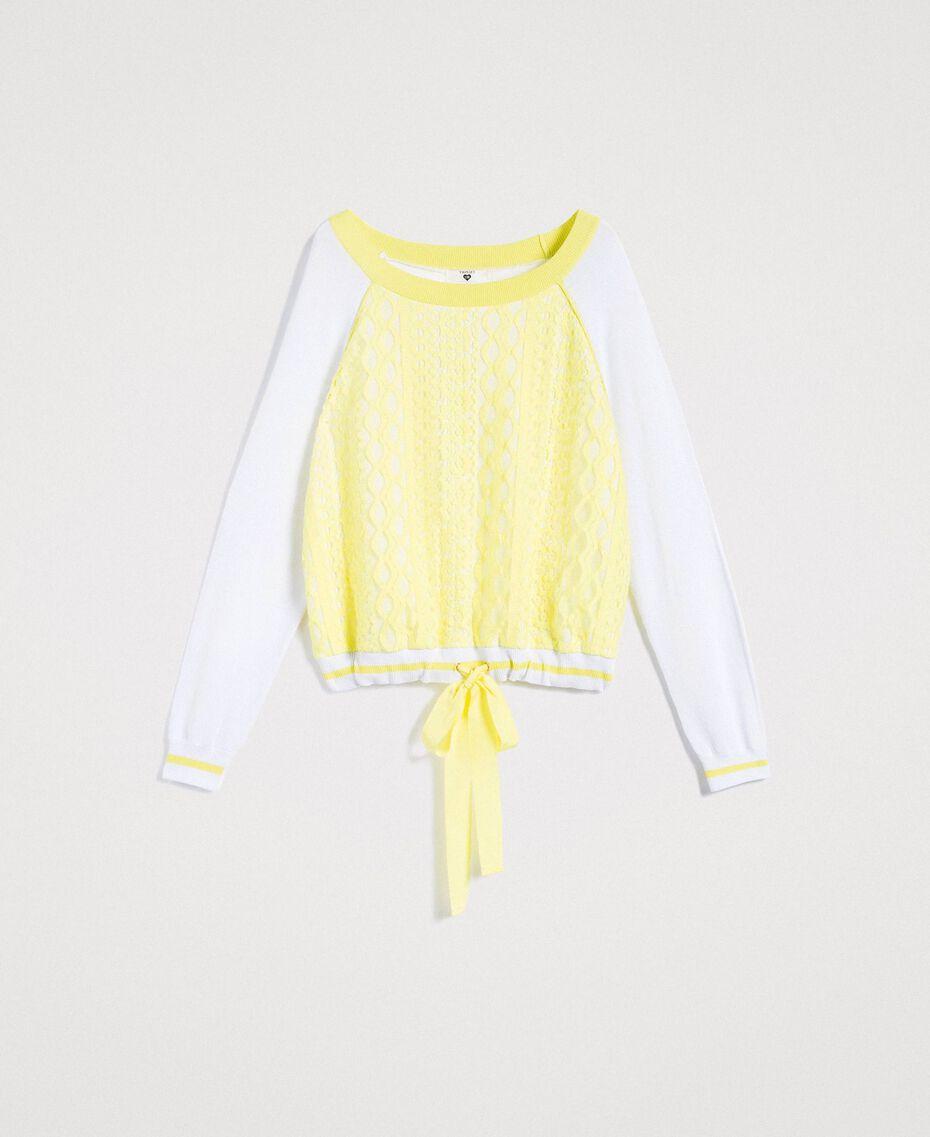 """Pull avec imprimé effet dentelle Bicolore Blanc Optique / Jaune """"Jus de Citron"""" Femme 191LL36BB-0S"""