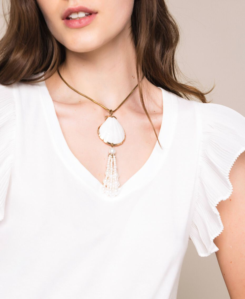 Ожерелье регулируемой длины с раковиной и жемчужинами Белый Antique White женщина 201TO5302-0S