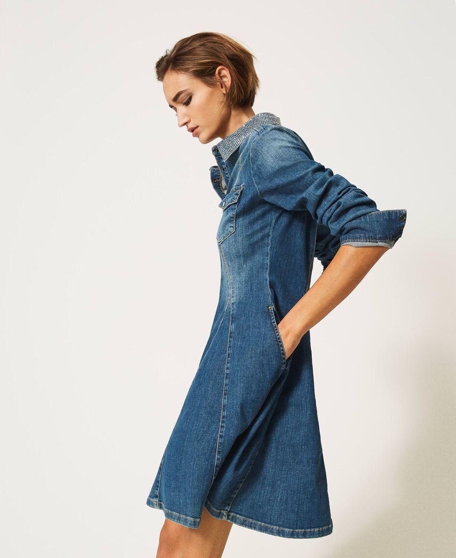 """Abito chemisier in jeans con borchie Blu """"Denim Medio"""" Donna 202MP2473-01"""
