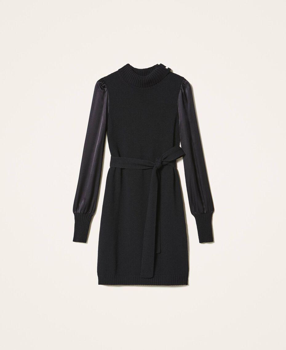 Платье из полушерсти с атласом Черный женщина 202TT3170-0S