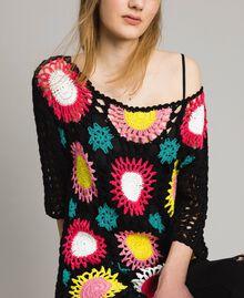 Maglia crochet con lurex Multicolor Nero Crochet Fiori Donna 191MT3051-04