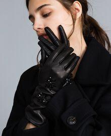 Gants longs en cuir avec strass Noir Femme OA8T5E-0S